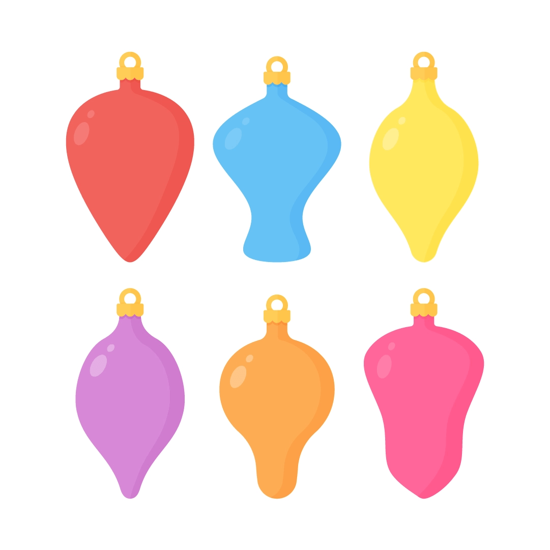 Vector illustration of coloured baubles in various shapes in flat design style