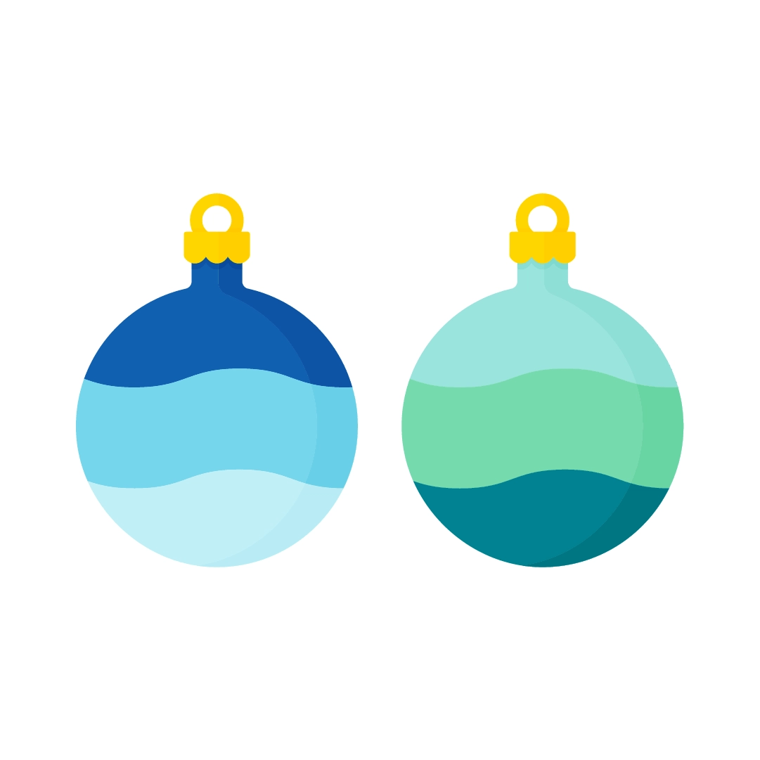 Vector illustration of blue and green ombre round baubles in flat design style