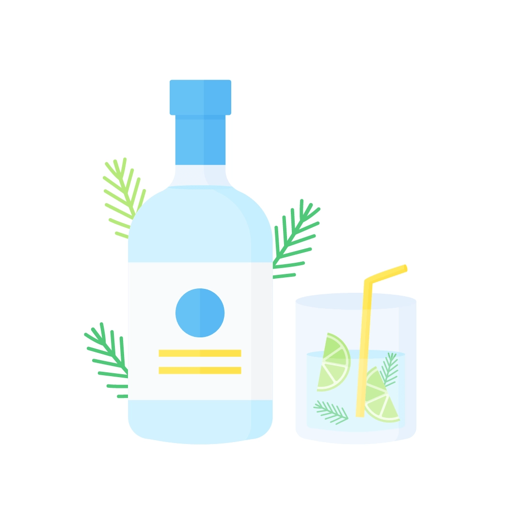 Vector illustration of gin and tonic with lime & rosemary in flat design style