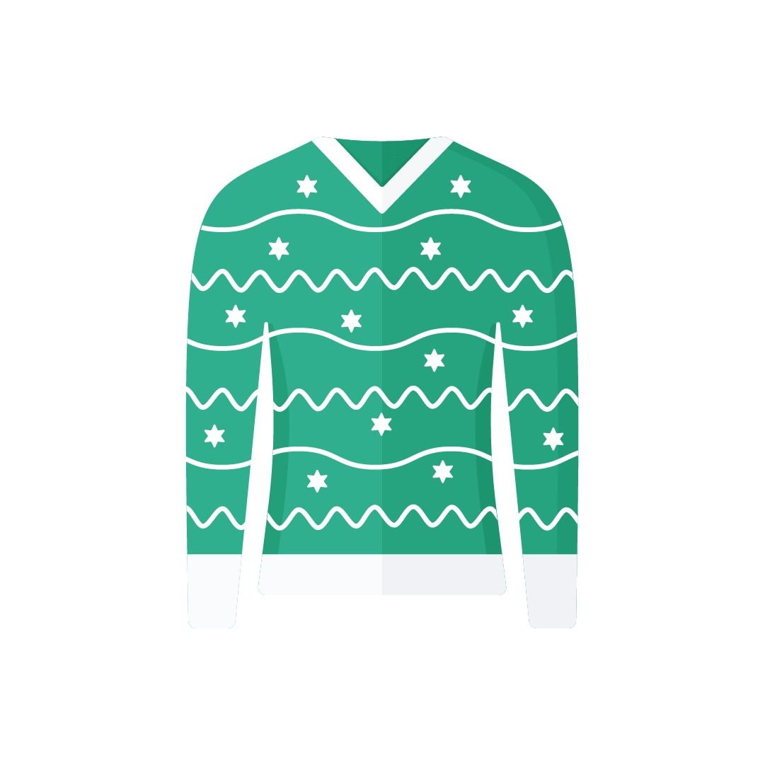 Vector illustration of green Christmas jumper with stars in flat design style