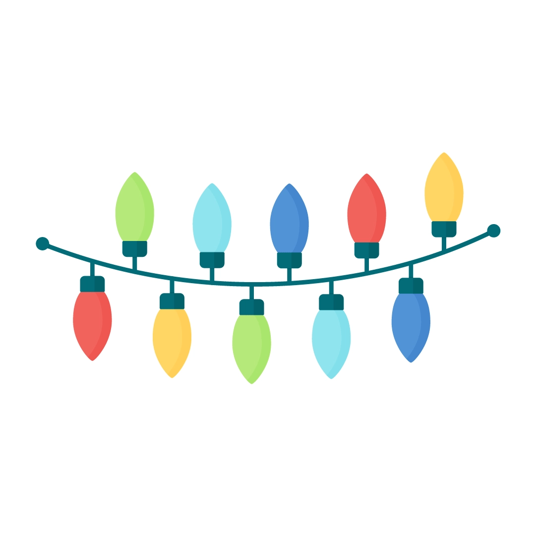 Vector illustration of Christmas lights in flat design style
