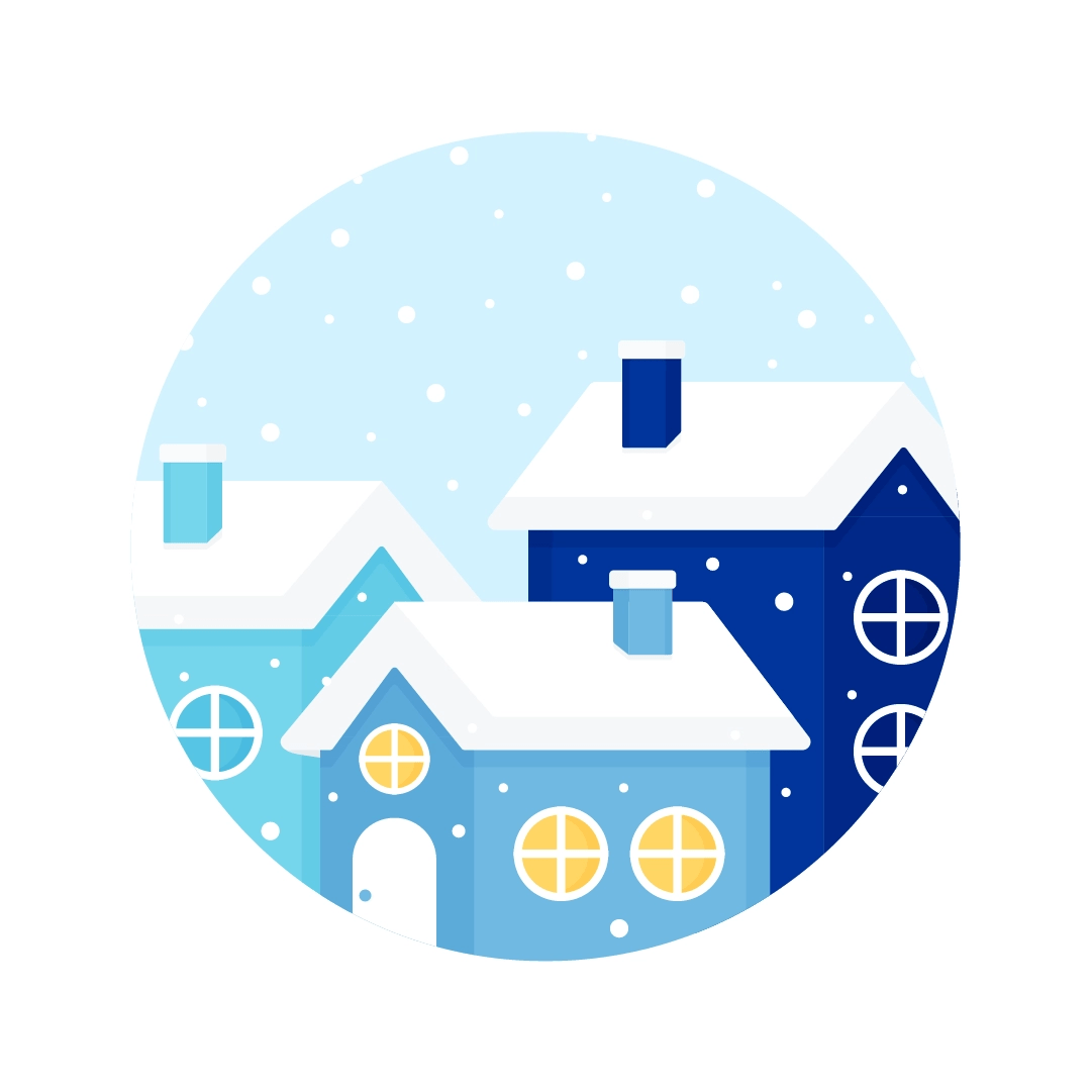 Vector illustration of snow-covered houses scene in flat design style