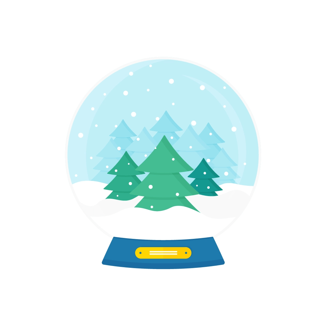 Vector illustration of the snow globe with fir forest in flat design style