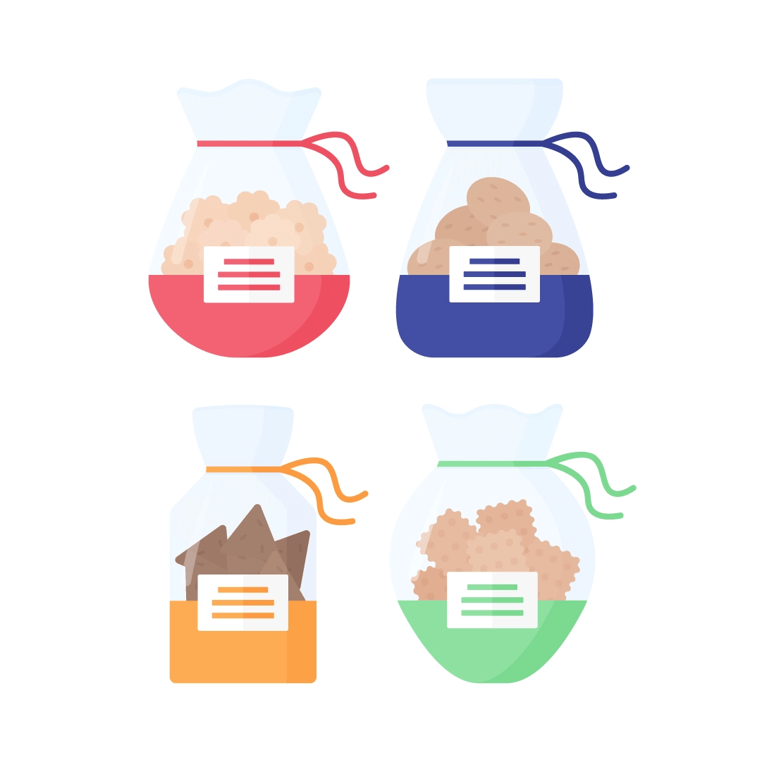 Vector illustration of various biscuits in cellophane bags in flat design style