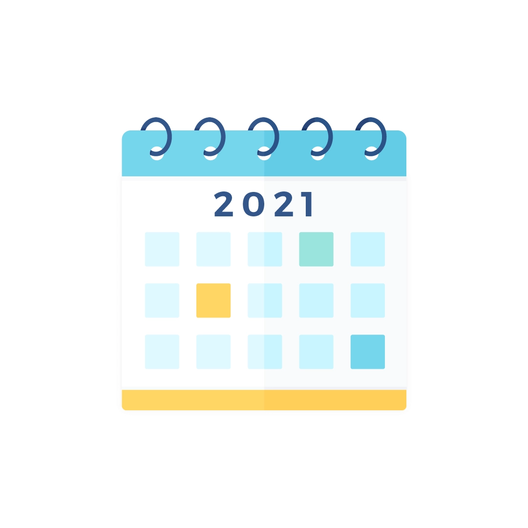 Vector illustration of a 2021 calendar in flat design style