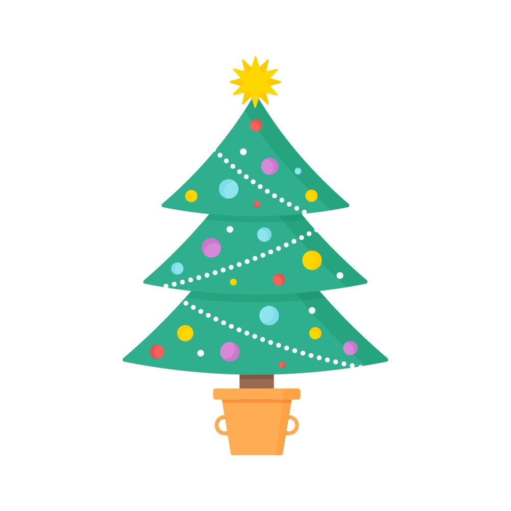Flat illustration of Christmas Tree in a Cooking Pot