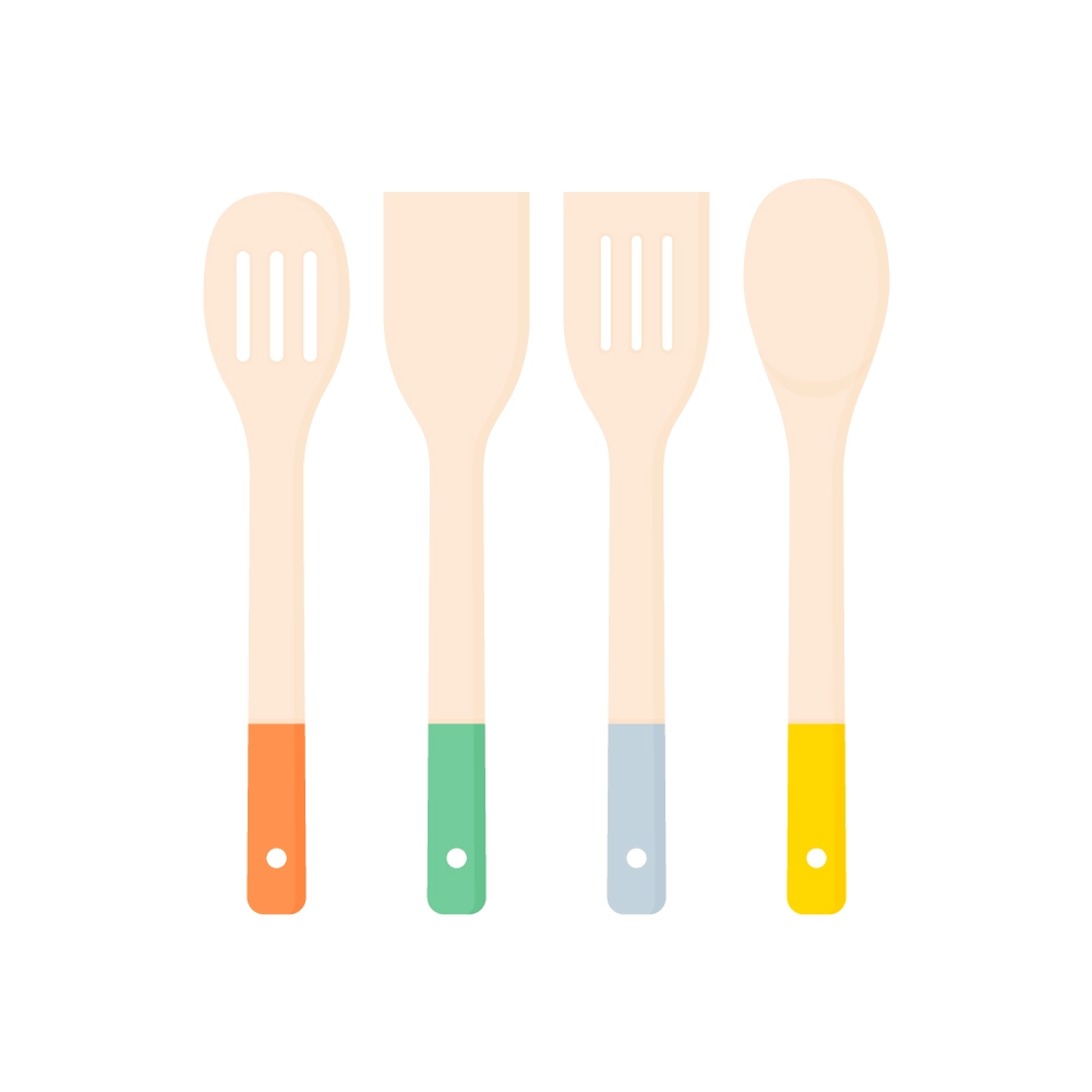 Flat illustration of Kitchen Utensils Set - Slotted Turner, Solid Turner, Slotted Spoon And Solid Spoon
