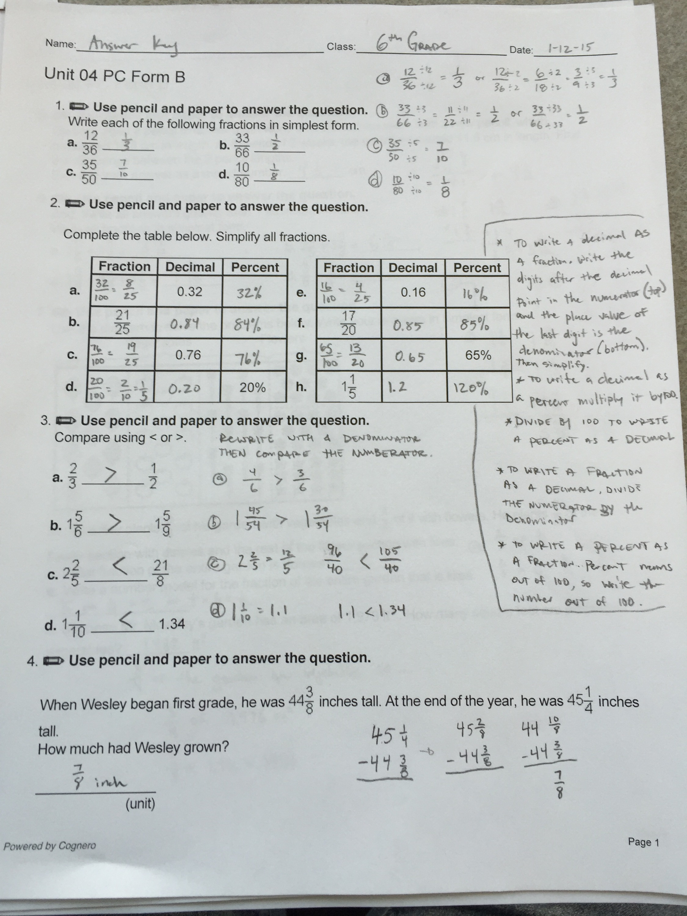 6th Grade Ch 4 Review Sheet Answers