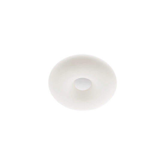 Aplica plafoniera pentru interior, echipata cu LED-uri SMD, structura din metal vopsit alb, dispersor din sticla suflata alb opal.