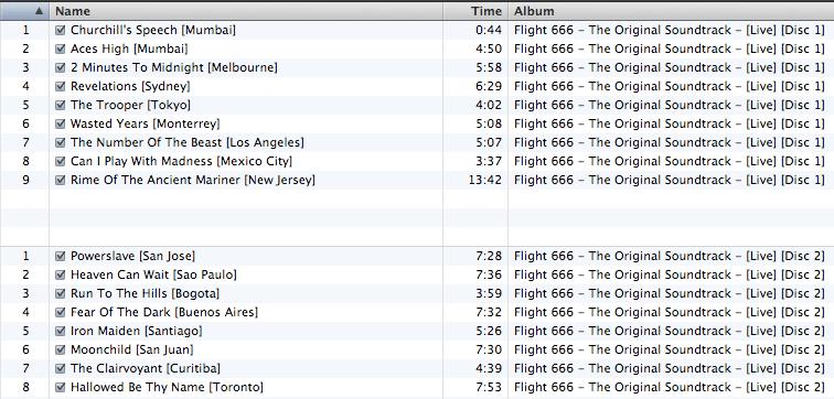 Músicas / cidades do mais novo lançamento do Maiden