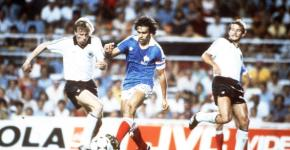 1982 World Cup Finals. Semi-Final. Seville, Spain. 8th July, 1982. West Germany 3 v France 3. (W. Germany win on penalties). West Germany's Bernd Foerster challenges France's Michel Platini.