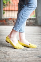 Perforated Loafers in Acid Yellow by DV