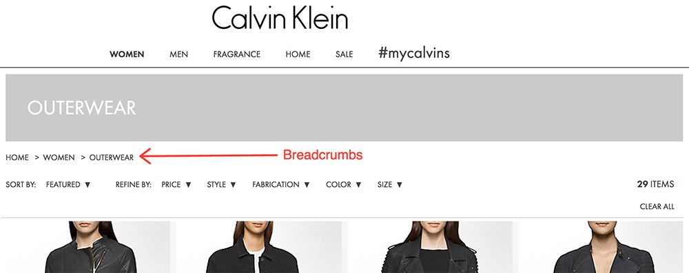eCommerce SEO breadcrumbs example