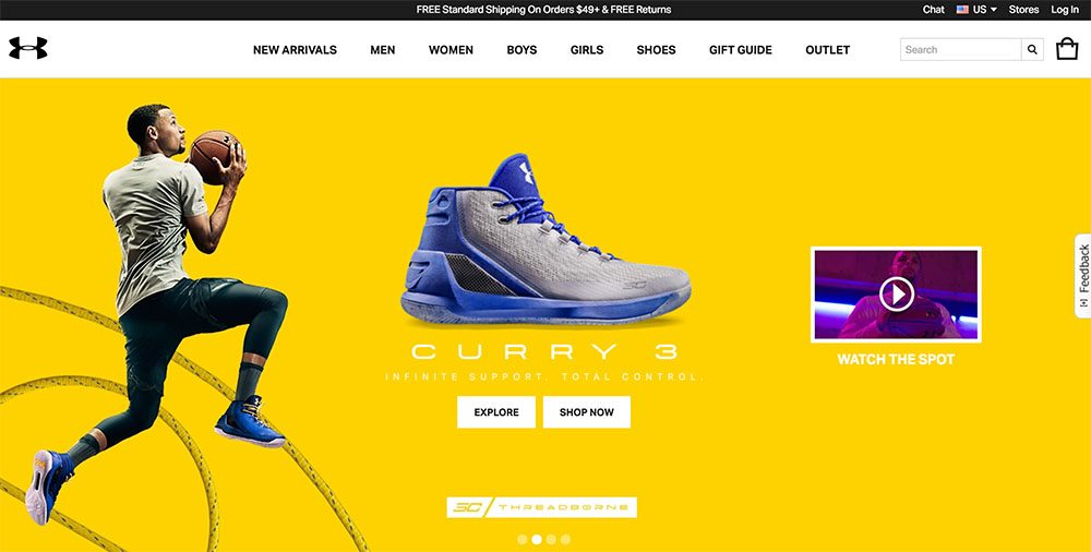Under Armour Navigation Menu Example for eCommerce Websites