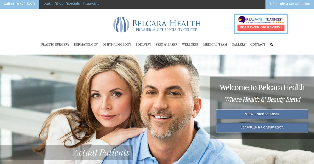 plastic surgery web design and marketing for belcara health by minyona.com