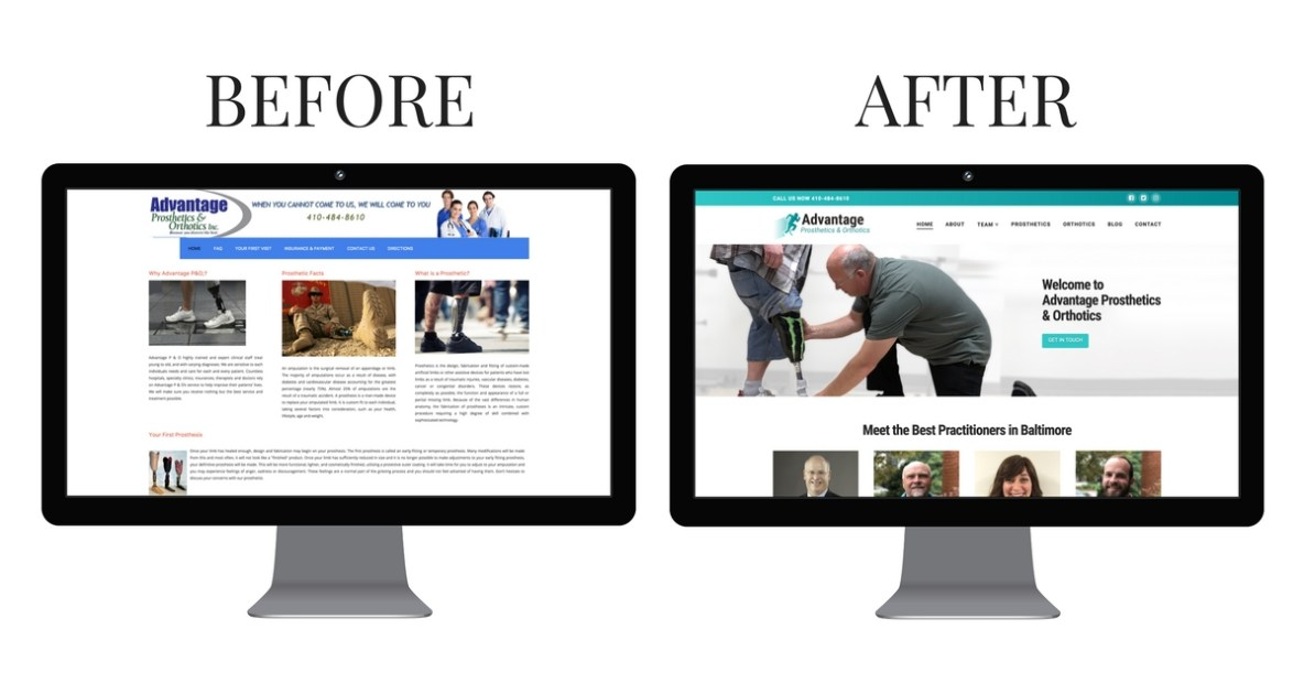 Before and after of rebuilding a website