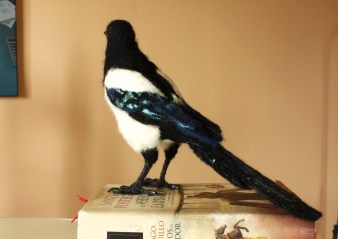 needle felted crow magpie