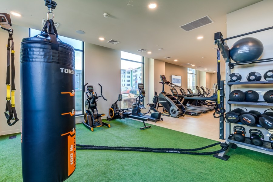 Fitness room with HIIT equipment