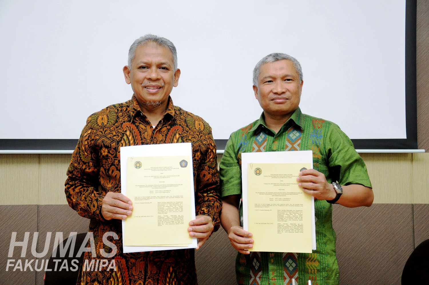 Dean of FMIPA UB signed a memorandum of understanding (MOU) with the University of North Sumatra (USU)