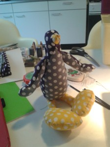 finished stuffed penguin