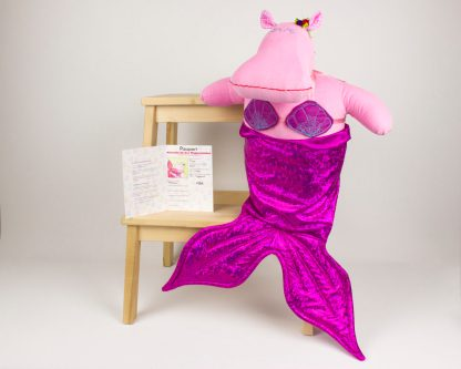 handmade hippo mermaid doll