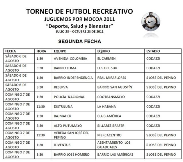 Torneo de Futbol Recreativo – Juguemos por Mocoa 2011 – Segunda Fecha