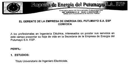 Convocatoria para Profesionales en Ingeniería Eléctrica