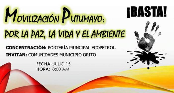 En Orito, Movilización Putumayo por la paz, la vida y el ambiente