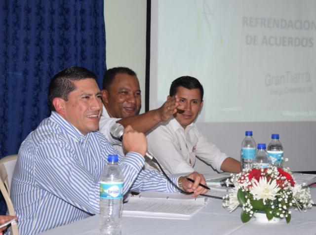 Enrique Villalobos Vicepresidente de Operaciones Gran Tierra Energy, Jhon Ever Calderon Alcalde De Villagarzón, Jose Luis Álvarez Ministerio del Interior.