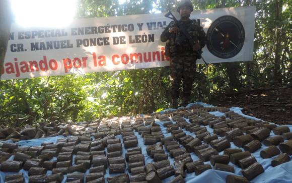 Los explosivos se encontraban en dos depósitos en la vereda Sinaí de Villa Garzón, Putumayo. Foto: Ejército