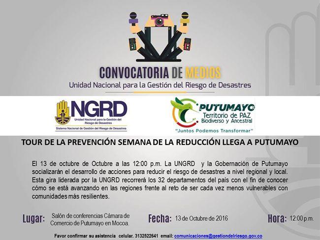 Tour de la Prevención Semana de la Reducción llega al Putumayo