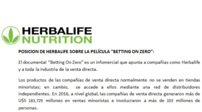 """Posición de Herbalife sobre la película """"BETTING ON ZERO"""""""