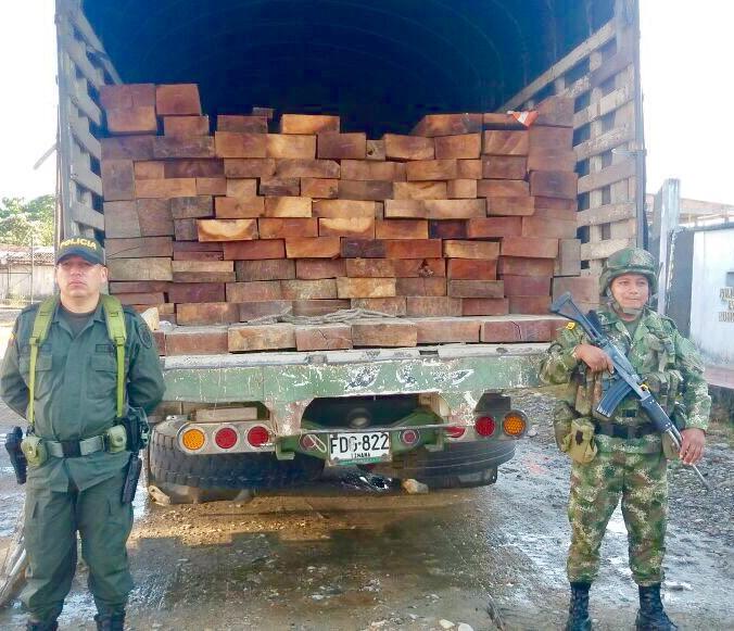 21 metros cúbicos de madera extraída ilegalmente fueron incautados por el Ejército en Putumayo