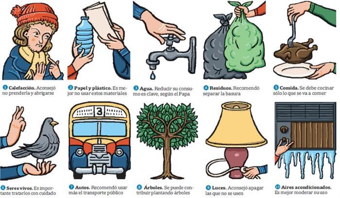 Los 10 consejos del papa Francisco para cuidar el medio ambiente