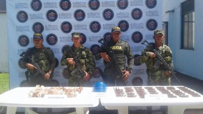En Orito Putumayo el Ejército halló depósito ilegal con municiones y explosivos