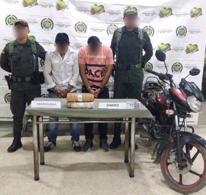 Capturadas dos personas e incautadas 7500 dosis de marihuana y 1 millón de pesos