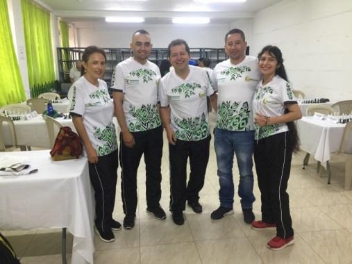Equipo de Ajedrez Putumayo. Luz marina López,, Durmand Benavides. Jaime Manrique R. (Presidende Liga Ajedrez Putumayo). Vladimir Moncayo, Ingrid Realpe.