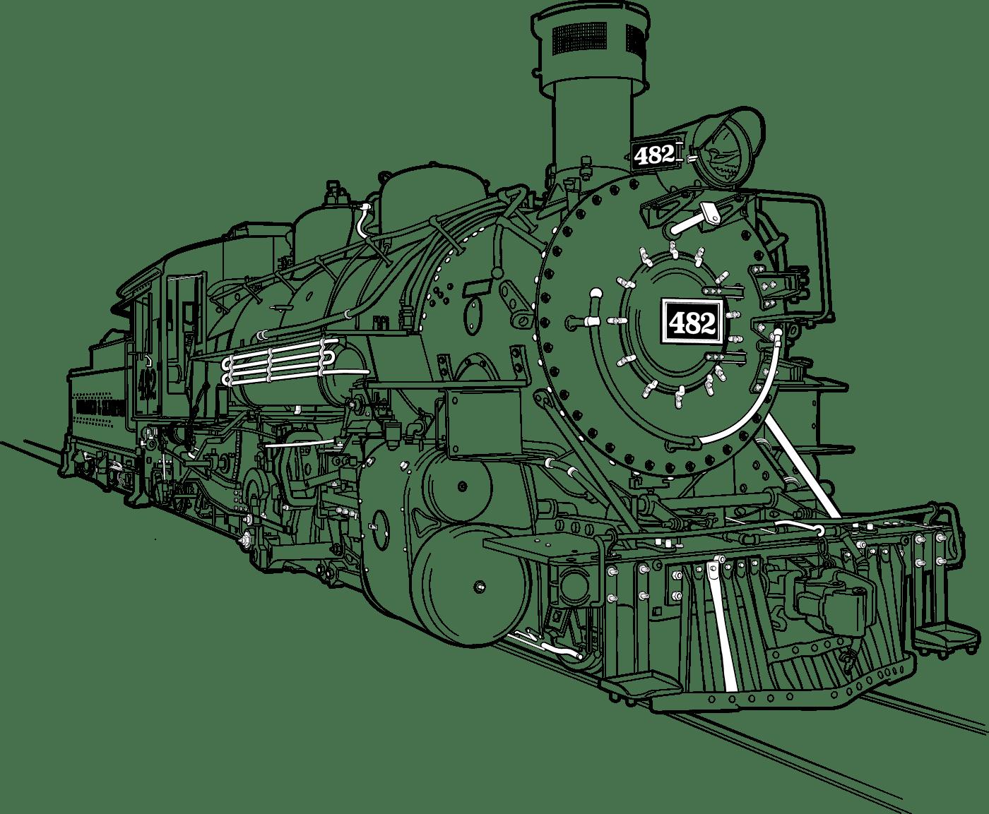 D Amp Sng 482 Steam Engine Line Art Tech Illustration On Behance