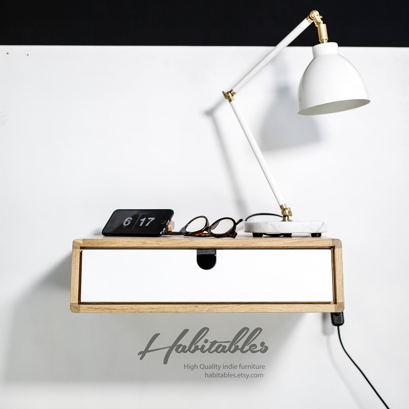 Floating Nightstand Bedside Table Drawer In Oak On Behance
