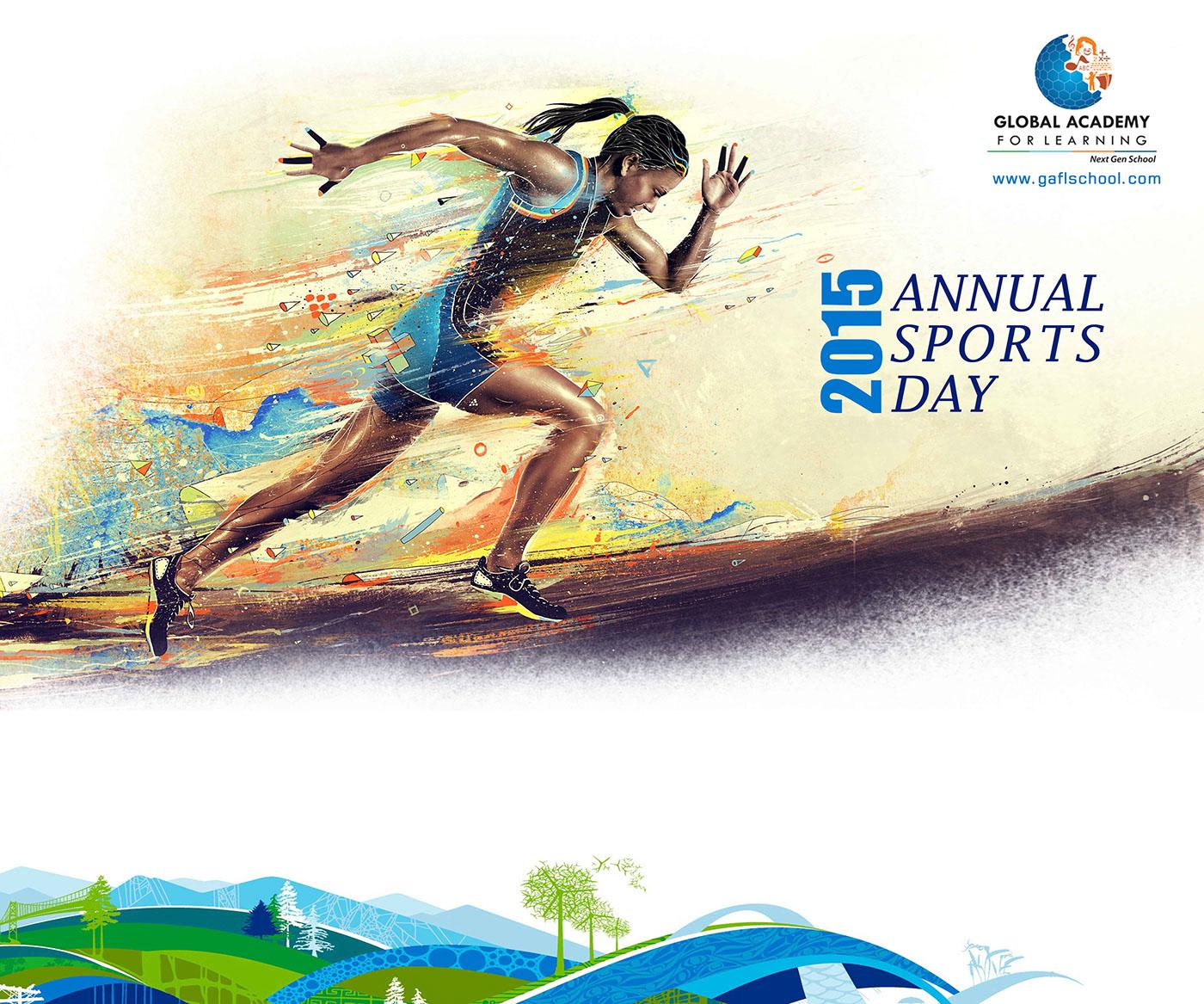 gaflschool sports day poster design on
