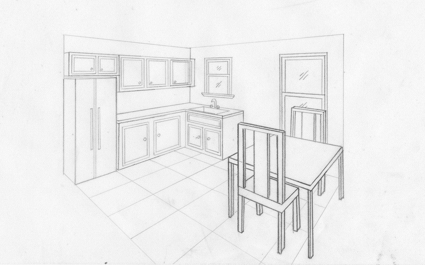 How To Draw A Living Room In Two Point Perspective