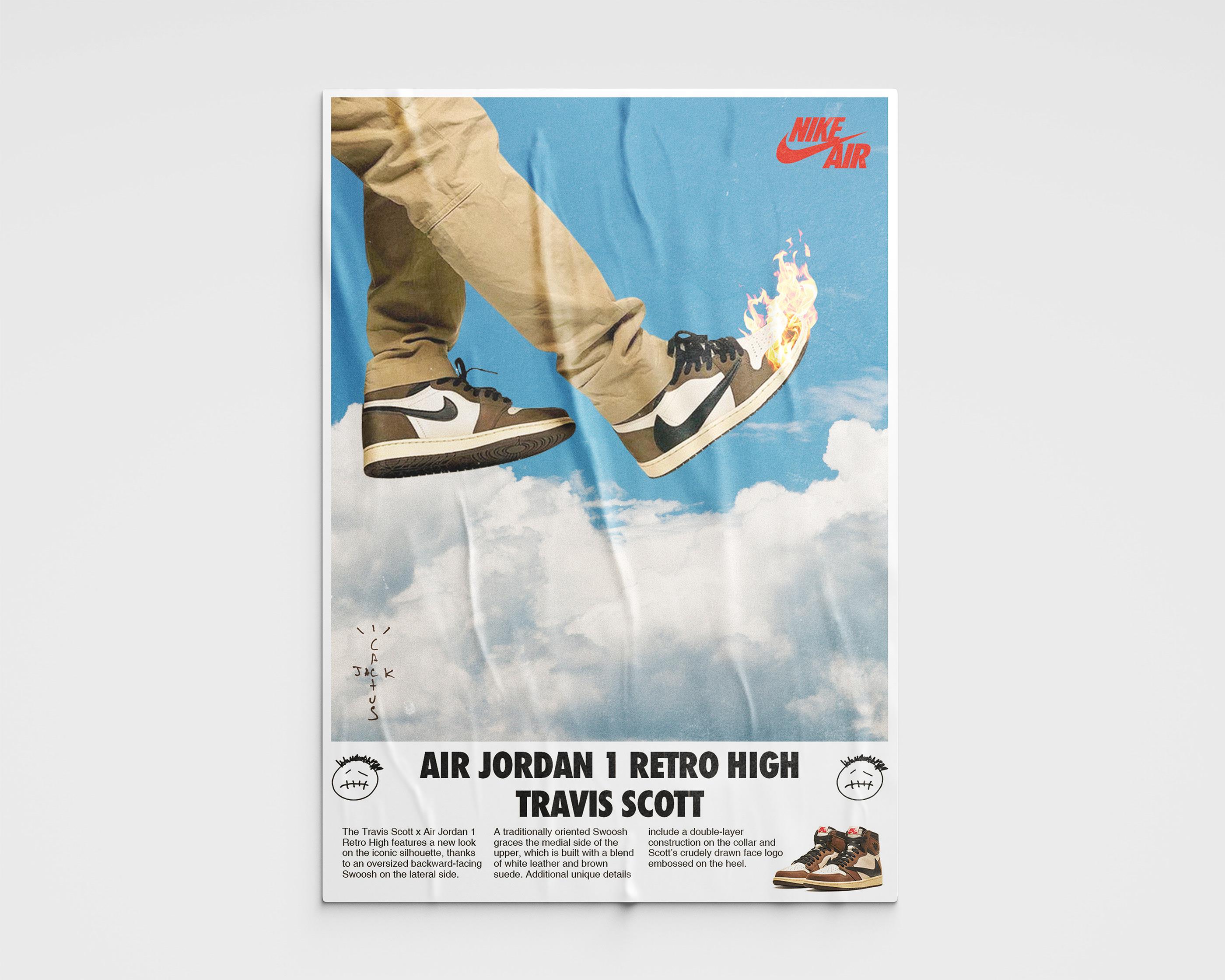 air jordan 1 x travis scott poster on