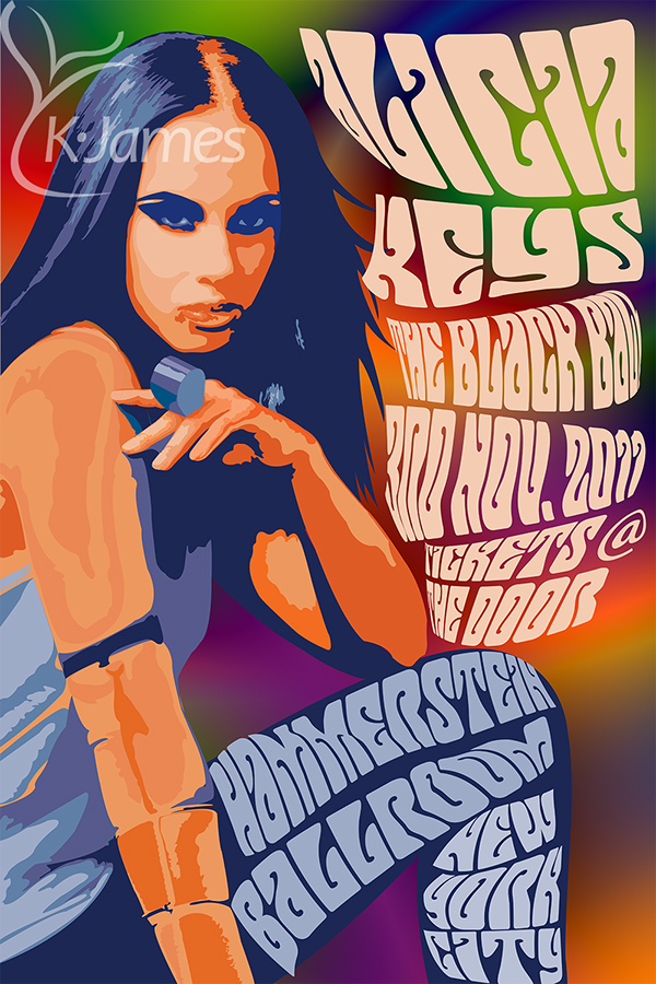 alicia keys psychedelic poster on behance
