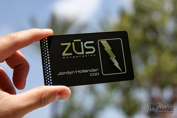black metal business card with lighting