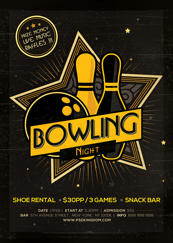 Bowling Night Flyer Magazine Ad On Behance