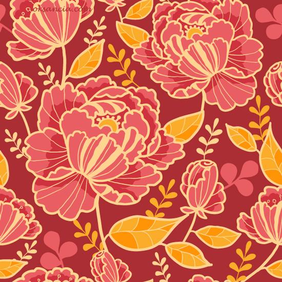 Kimono Florals Vector Seamless Patterns On Behance