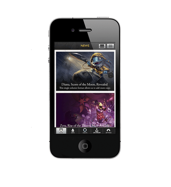 Riot Games Mobile iPhone App on Behance Concept Sketches