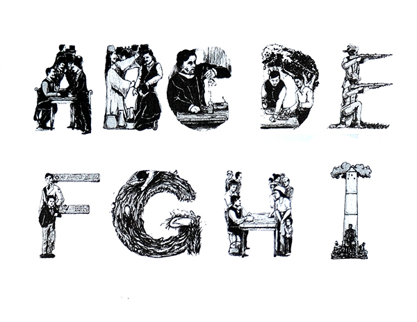 Letters A to I illustrated