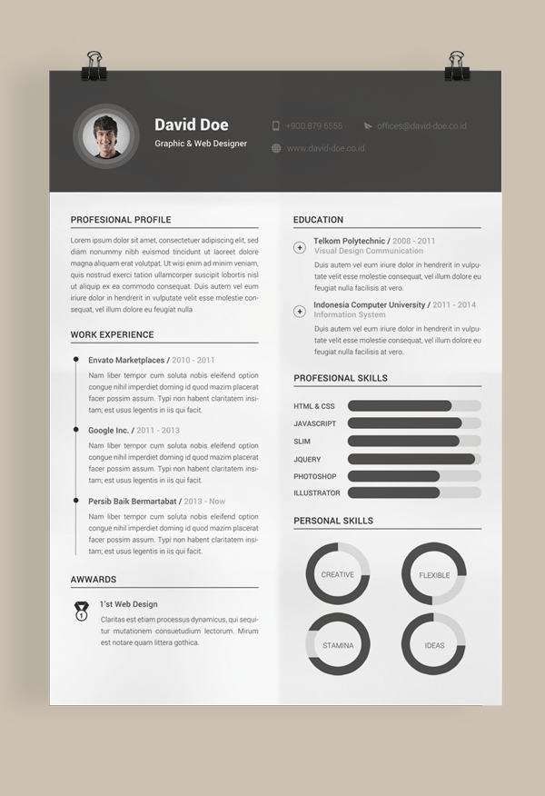 Best Web Resumes. Website Design Resume Create A Clean And Simple