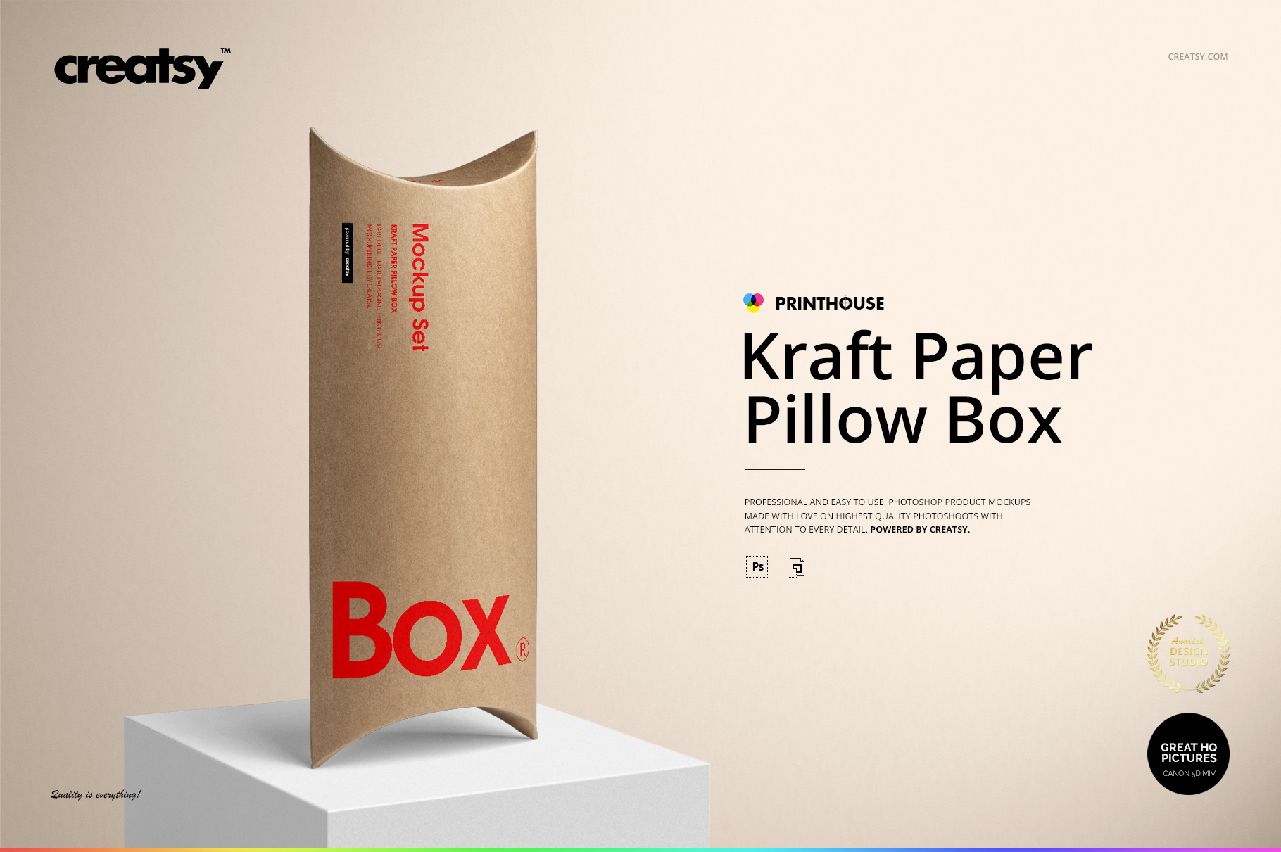 kraft paper pillow box mockup set on